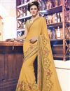 image of Beige Color Soothing Georgette And Net Saree With Embroidery Work