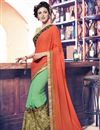 image of Peach And Green Color Designer Saree In Georgette And Net Fabric With Embroidery Work