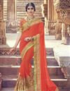 image of Orange Color Wedding Wear Georgette Saree With Embroidery Work