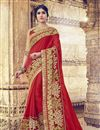 image of Red Color Georgette Party Wear Saree With Embroidery Work