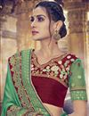 photo of Green Color Wedding Wear Georgette Saree With Embroidery Work