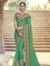 image of Green Color Wedding Wear Georgette Saree With Embroidery Work