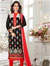 image of Charming Black Color Designer Embroidered Salwar Suit In Chanderi Fabric