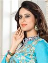 photo of Gorgeous Cyan Color Designer Suit In Chanderi Fabric