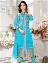image of Gorgeous Cyan Color Designer Suit In Chanderi Fabric