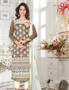 image of Superbly Embroidered Chikoo Color Designer Salwar Suit