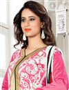 photo of Gorgeous Pink And White Color Designer Suit In Chanderi Fabric
