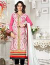 image of Gorgeous Pink And White Color Designer Suit In Chanderi Fabric
