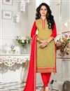 image of Gorgeous Beige Color Designer Suit In Chanderi Fabric