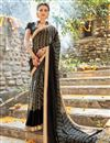 image of Black Color Lovely Festive Wear Saree In Georgette Fabric With Unstitched Georgette Blouse