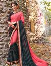 image of Pink And Black Color Lovely Festive Wear Saree In Georgette Fabric With Unstitched Georgette Blouse