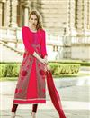 image of Stylish Designed Pink Color Salwar Suit In Georgette Fabric With Embroidery Work