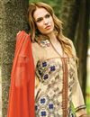 photo of Cream Color Designer Georgette Palazzo Salwar Kameez With Embroidery Work