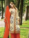 image of Cream Color Designer Georgette Palazzo Salwar Kameez With Embroidery Work