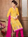 photo of Fabulous Yellow Color Designer Embroidered Suit In Cotton Fabric