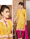 image of Stylish Yellow Color Party Wear Cotton Salwar Kameez With Embroidery Work