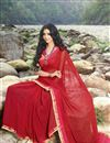 photo of Printed Party Wear Red Color Georgette Saree With Unstitched Blouse