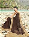 photo of Printed Festive Wear Stunning Brown Color Georgette Saree With Fancy Print Work