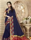 image of Glamorous Blue Color Festive Wear Saree With Unstitched Cotton And Silk Blouse