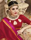 photo of Brilliant Red Color Festive Wear Saree In Cotton And Silk Fabric