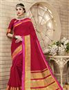 image of Brilliant Red Color Festive Wear Saree In Cotton And Silk Fabric