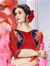 photo of Sensational Pink Color Printed Saree With Unstitched Banglori Silk Blouse
