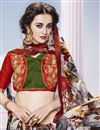 photo of Stylish Multi Color Printed Festive Wear Georgette And Silk Saree With Unstitched Banglori Silk Blouse