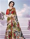 image of Stylish Multi Color Printed Festive Wear Georgette And Silk Saree With Unstitched Banglori Silk Blouse
