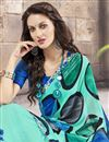 photo of Printed Party Wear Gorgeous Cyan Color Georgette And Silk Saree