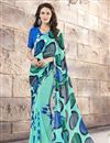 image of Printed Party Wear Gorgeous Cyan Color Georgette And Silk Saree
