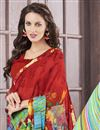 photo of Red Color Stylish Printed Saree With Unstitched Banglori Silk Blouse