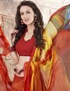 photo of Fabulous Orange Color Printed Saree With Unstitched Banglori Silk Blouse
