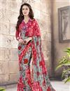 image of Charming Pink And Grey Color Festive Wear Georgette And Silk Saree With Fancy Print Work