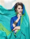 photo of Teal Color Printed Saree With Unstitched Crepe And Silk Blouse