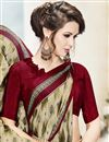 photo of Beige Color Party Wear Saree With Fancy Print Work