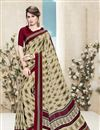 image of Beige Color Party Wear Saree With Fancy Print Work