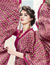 photo of Pink Color Printed Saree With Unstitched Crepe And Silk Blouse