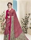 image of Pink Color Printed Saree With Unstitched Crepe And Silk Blouse