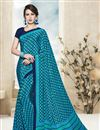 image of Cyan Color Stylish Crepe And Silk Party Wear Printed Saree