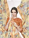 photo of Printed Festive Wear Classic Beige Color Georgette Saree With Satin Border