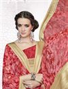 photo of Georgette Pink And Red Color Printed Saree With Unstitched Georgette Blouse