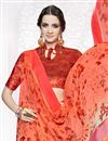 photo of Orange Color Party Wear Fancy Printed Georgette Saree With Satin Border