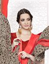 photo of Georgette Chikoo Color Printed Saree With Unstitched Georgette Blouse