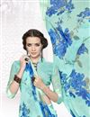 photo of Sensational Cyan Color Printed Party Wear Saree With Unstitched Georgette Blouse