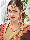 photo of Brown And Beige Color Designer Embroidered Lovely Georgette And Silk Saree