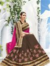 photo of Designer Embroidered Superb Pink And Brown Color Georgette And Silk Saree