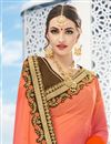 photo of Georgette And Silk Party Wear Brown And Orange Color Saree With Designer Unstitched Banglori Silk Blouse