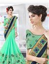 photo of Designer Embroidered Lovely Blue And Green Color Georgette Saree