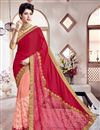 image of Georgette Festive Wear Designer Saree In Red And Pink Color With Embroidery Work