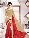 image of Striking Beige And Red Color Party Wear Embroidered Saree In Georgette Fabric